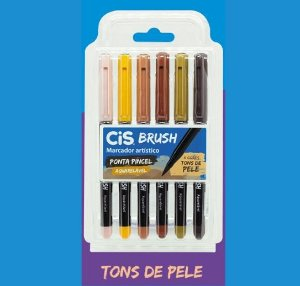 Caneta Brush Pen Cis Aquarelável Tons de Pele 6 cores