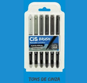 Caneta Brush Pen Cis Aquarelável Tons de Cinza 6 cores