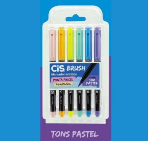 Caneta Brush Pen Cis Aquarelável Tons Pastel 6 cores