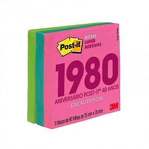 Bloco Post-it Coleção Anos 1980 76x76 270 folhas