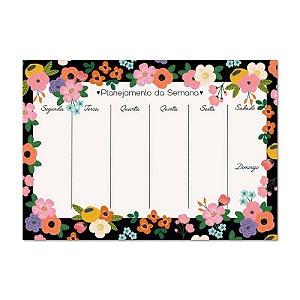 Bloco Planner Semanal Floral Noite 50 folhas
