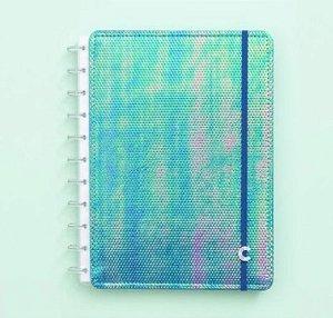 Caderno Inteligente Médio Holográfico Azul 80 Folhas