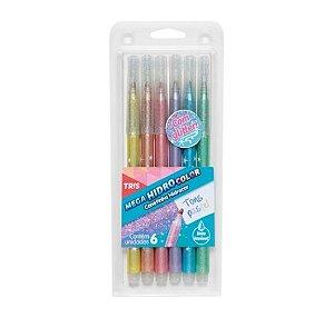 Caneta Hidrocor Glitter Tons Pastel Tris 6 cores
