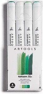 Caneta Marcador Pictom Brush Tons de Verde Artools 4un