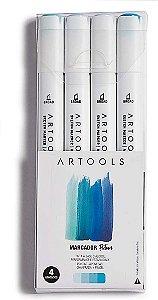 Caneta Marcador Pictom Brush Tons de Azul Artools 4un