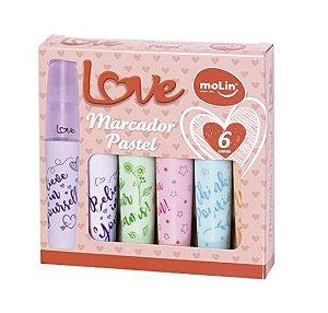 Marca Texto Love Heart Molin Pastel 6 cores