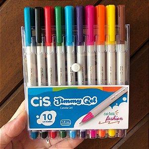 Caneta Gel Cis Jimmy 1.0mm Estojo com 10 cores fashion
