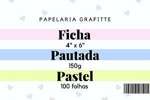 Ficha Pautada Pastel 4x6 100 unidades