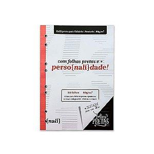 Bloco P/ Fichário Preto Colegial/B5 Pautado Nalí