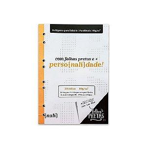 Bloco P/ Fichário Preto Colegial/B5 Pontilhado Nalí
