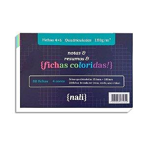 Fichas Coloridas 4 X 6 Quadriculada