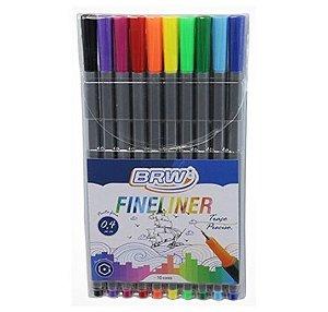 Estojo Caneta Fineliner Básicas 10 cores BRW