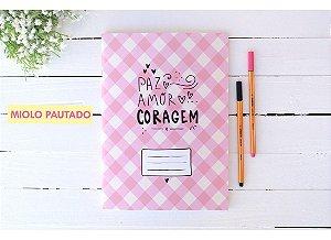 Caderno Flex Maxi Pautado Xadrez Rosa 40 folhas