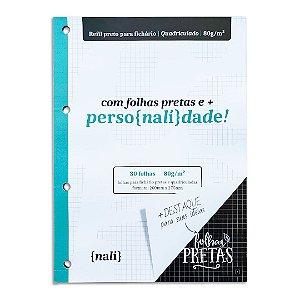 Bloco para Fichário Preto A4 Quadriculado Nalí