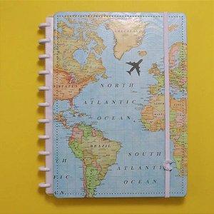 Caderno Inteligente Mapa Mundi 80 Folhas
