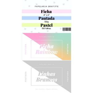 Kit Fichas Pautadas 4x6 100 unidades c/3