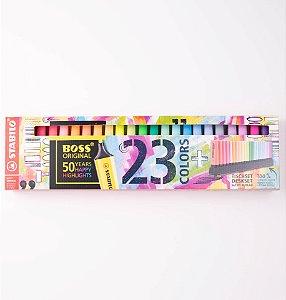 Caneta Marca Texto Stabilo Boss 23 cores 50th Deskset