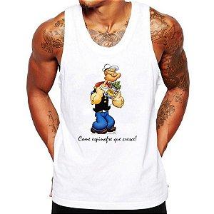 Camiseta Masculina Regata Popeye Frases Engraçadas Maromba - Personalizada  - Branca. 842beb44306