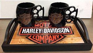 Bandeja + 2 canecas de Soco Inglês Motorcycles Harley Davidson