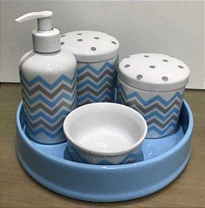 Kit Higiene  Kit Higiene Bebê 5 peças Chevron Azul