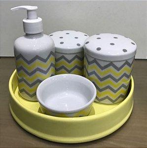 Kit Higiene  Kit Higiene Bebê 5 peças Chevron Amarelo