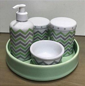 Kit Higiene  Kit Higiene Bebê 5 peças Chevron Verde