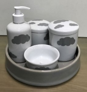 Kit Higiene  Kit Higiene Bebê 5 peças Chevron - Cinza Nuvens