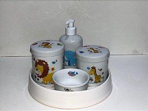 Kit Higiene  Kit Higiene Bebê 5 peças Chevron - Safári