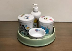 Kit Higiene  Kit Higiene Bebê 5 peças Chevron - Safári Bandeja verde