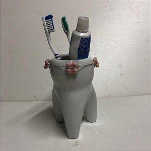 Porta Escovas Dente Molar Aparelho  ou Porta canetas - Rosa