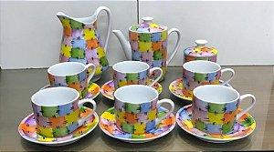 Kit Chá ou Café 9 Peças Porcelana Modelo Patchwork - Pintura a Mão