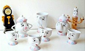 Jogo De Chá A Bela E A Fera Porcelana - 9 Peças