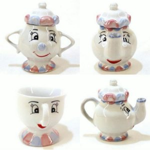 Jogo Chá ou café a Bela e a Fera - Porcelana -4 peças ( Bule + Açucareiro + 2 Xicaraz Zip )