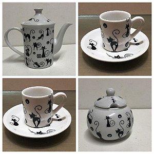 Kit Café Gato Gatinhos Pretos - Porcelana 4 Peças