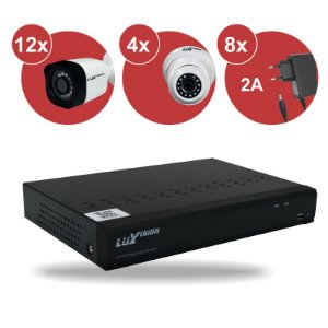 Kit CFTV HVR ECD 1080N 16 canais + 12 Câm. Bullet 720P + 04 Câm. Dome 720P + 08 Fonte 12v 2A