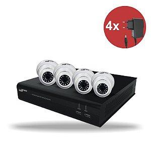Kit CFTV HVR ECD 1080P 04 canais + 04 Câm. Dome 1080P + 04 Fonte 12V 1A