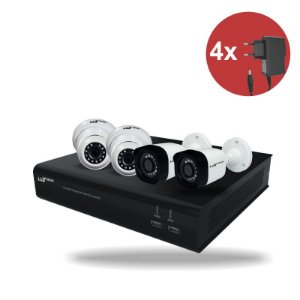 Kit CFTV HVR ECD 1080P 04 canais + 02 Câm. Bullet 1080P + 02 Câm. Dome 1080P + 04 Fonte 12V 1A