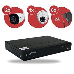Kit CFTV HVR ECD 1080P 16 canais + 12 Câm. Bullet 1080P + 04 Câm. Dome 1080P + 08 Fonte 12V 2A