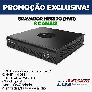 DVR ECD DYNO 5MP 8 CANAIS + 4 IP H.265 APP DYNO LIVE  COMPATIVEL LUXVISION