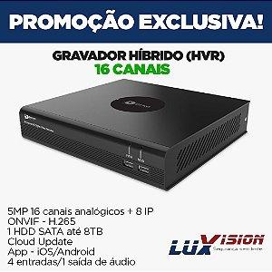 DVR ECD DYNO 5MP 16 CANAIS + 8 IP H.265 APP Dyno live compativel LUXVISION