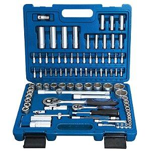 Jogo de Soquetes 1/2'' e 1/4'' Crv - 94 Peças - R010123 - Riosul Tools