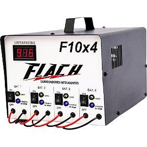 Carregador de Bateria Inteligente F10X4 127/220V 10A 12V - F10X4 - Flach