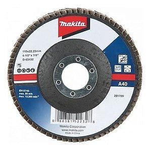 "Disco Flap Lixa 4.1/2x7/8"" GR40 (Alumínio) - D-63432-10 - Makita"