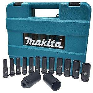 "Soquete de Impacto Longo 1/2"" 10-32mm (14 Peças c/ Maleta) - B-52308 - Makita"