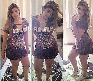Vestido Estonado Ramones - Roxo