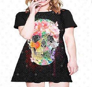 Vestido Caveira Rosa Flores e Borboletas