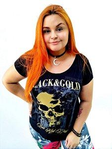 Blusa Feminina Caveira Black Gold
