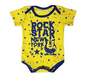 Body Bebê Amarelo Rock Star