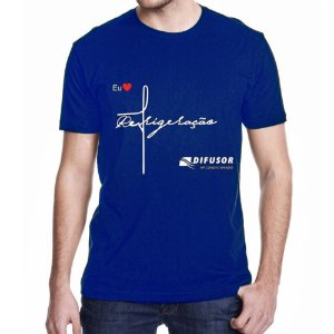 """Camisa Azul Algodão """"EU AMO REFRIGERAÇÃO"""" vs - WORKSHOP"""