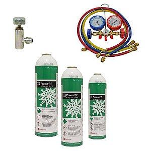 KIT Gás R22 Dupont com registro e Manifold completo